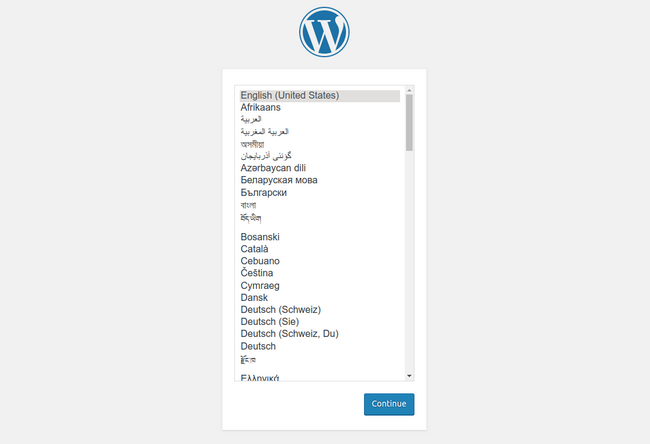 WordPress choosing a language