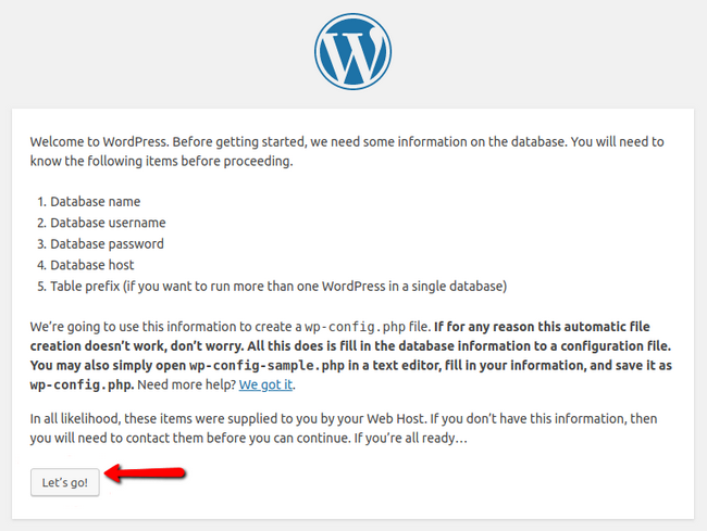 Creating a database during the WordPress installation