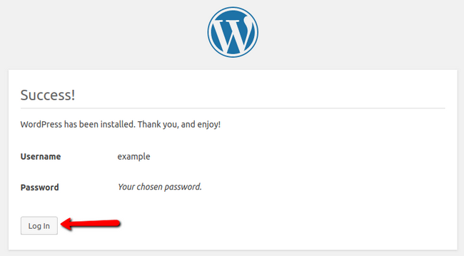 Completing the WordPress installation process