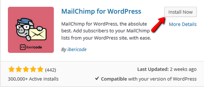 Installing the MailChimp widget for WordPress
