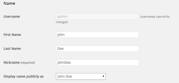 edit wordpress profile