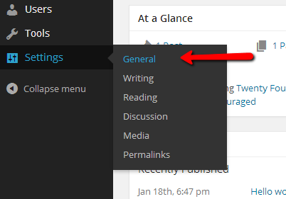general wordpress settings menu