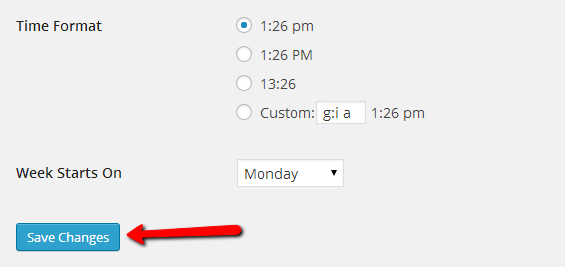 wordpress time format settings