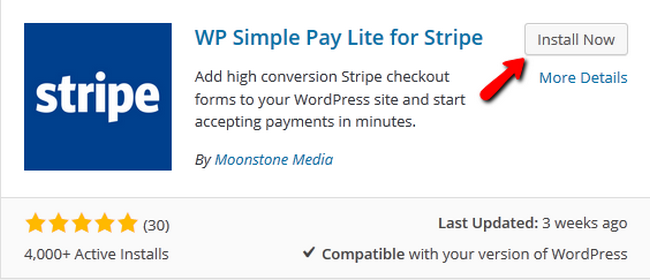 Installing the WP Simple Pay Lite for Stripe plugin