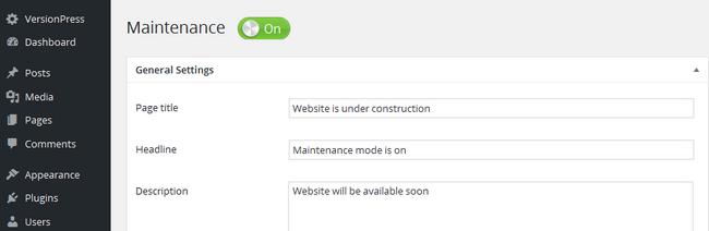 Enabling Maintenance mode for WordPress
