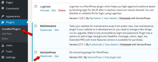 Deactivating VersionPress