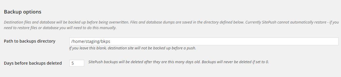 Configure Staging Backups in WordPress