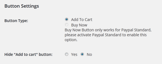 Button Settings in WP eCommerce