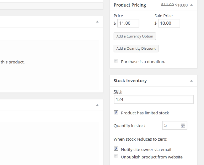 Setting up a Price and SKU for a Product