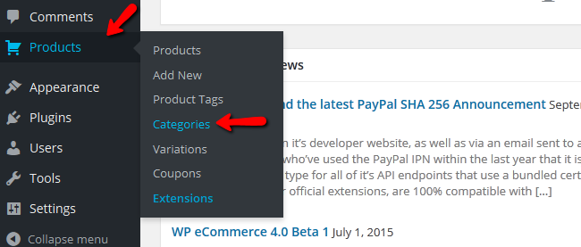 Accessing the Product Categories Menu in WP eCommerce