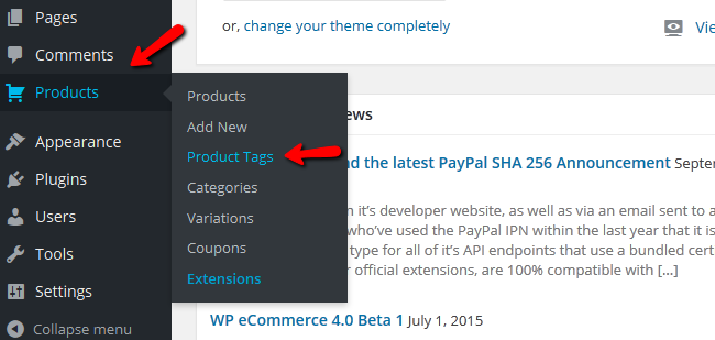 Accessing the Product Tags Menu in you WP eCommerce Store