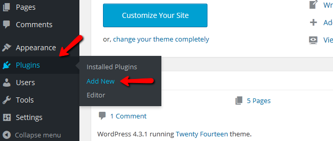 Access the Plugin menu inside WordPress