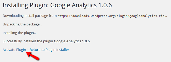 Activating the Google Analytics Plugin