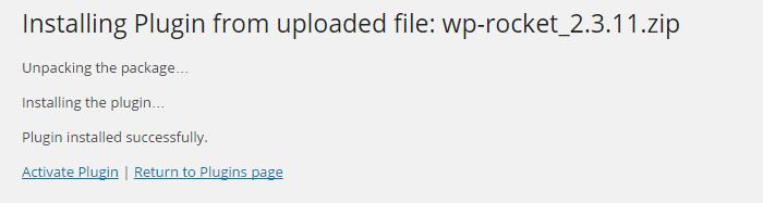 Successful plugin installation in Wordpress