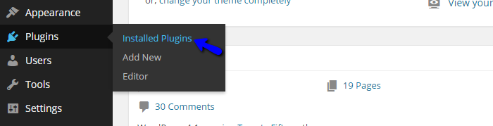 Access installed plugins in Wordpress