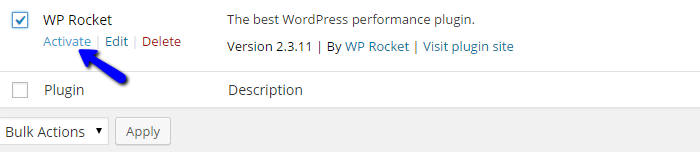 Activate WP Rocket in Wordpress