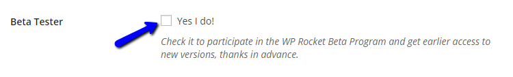 Enable beta testing for WP Rocket