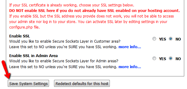 Configuring Zen Cart's SSL settings