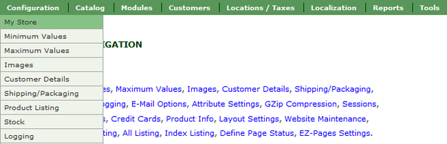 Accessing the My Store section in Zen Cart