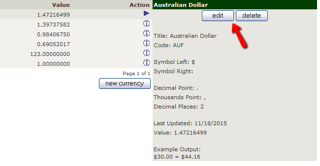Editing an existing Currency in Zen Cart