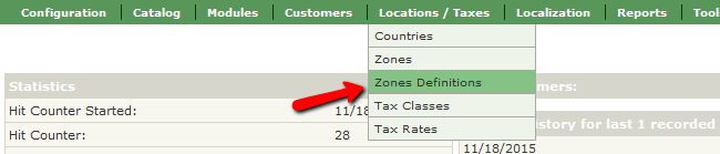 Accessing the Zones Definitions section in Zen Cart