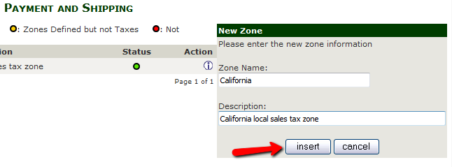 Configuring the New Tax Zone