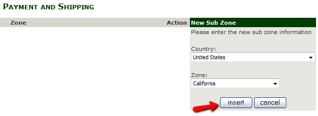 Adding a subzone to a Tax Zone in Zen Cart