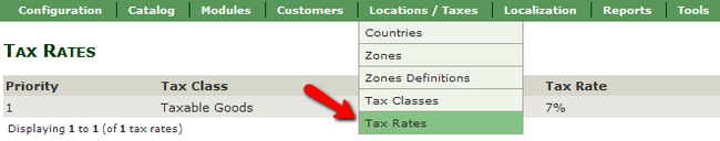 Accessing the Tax Rates menu in Zen Cart