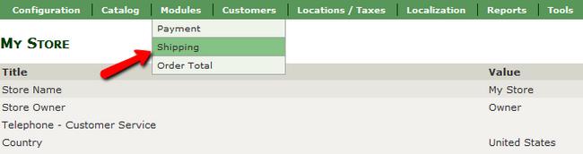 Accessing the Shipping menu in Zen Cart
