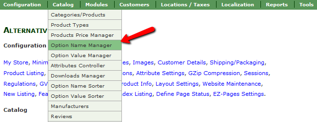 Accessing the Option Name Manager Menu in Zen Cart