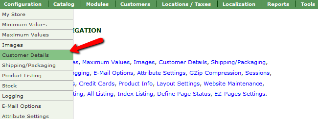 Accessing the Customer Details section in Zen Cart