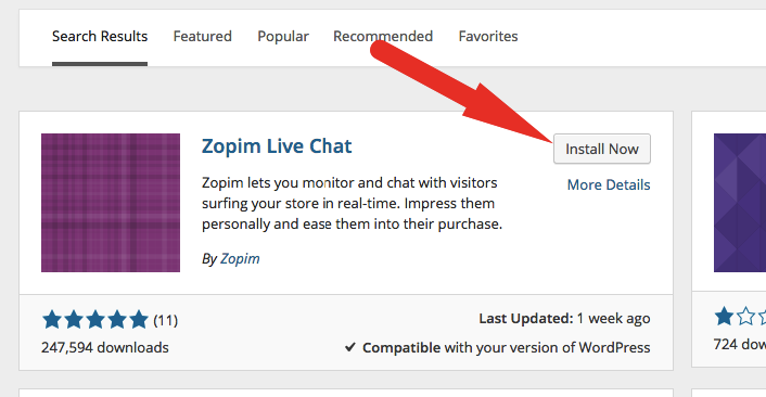 Install Zopim WordPress Plugin